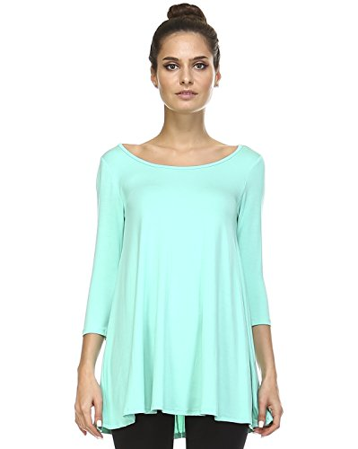 Tunic Top For Leggings For Women 3 4 Sleeve Swing Dress Top Made In USA – Small, Mint