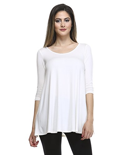 Tunic Top For Leggings For Women 3 4 Sleeve Swing Dress Top Made In USA – Small, Soft White