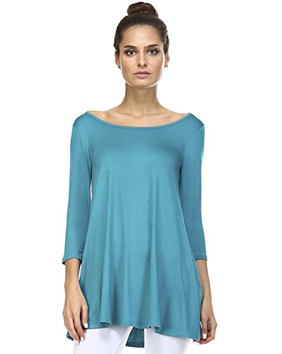 Tunic Top For Leggings For Women 3 4 Sleeve Swing Dress Top Made In USA – Small, Teal