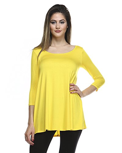 Tunic Top For Leggings For Women 3 4 Sleeve Swing Dress Top Made In USA – Small, Yellow
