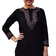 Ayurvastram Pure Cotton Round Neck, Hand Embroidered Tunic, Top, Kurti, Blouse – 30W: Body Chest 58 inches, Black with Taupe Emb