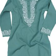 Ayurvastram Pure Cotton Round Neck, Hand Embroidered Tunic, Top, Kurti, Blouse – 2: Body Chest 33 inches, Grey Green with White Emb