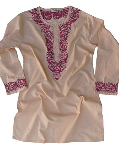 Ayurvastram Pure Cotton Round Neck, Hand Embroidered Tunic, Top, Kurti, Blouse – 0: Body Chest 32 inches, Nude with Pink Emb