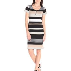 Allison-Brittney-Womens-Stripe-Scoop-Neck-Short-Sleeve-Dress-0