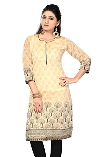 AmzG Trends Indian Kurtis for women and Girls Tunics Designer Kurti – XX-Large, Beige & Black
