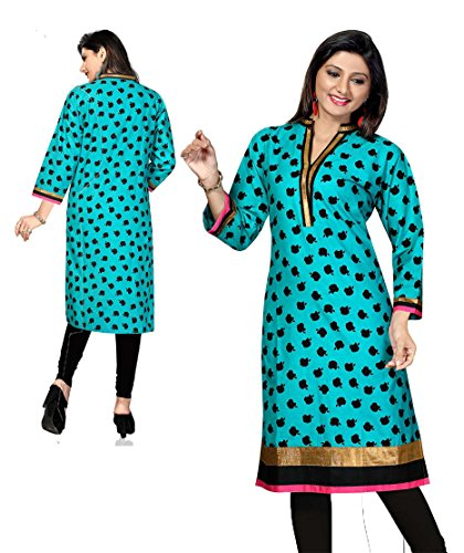 AmzG Trends Indian Kurtis for women and Girls Tunics Designer Kurti – X-Large, Beige & Red