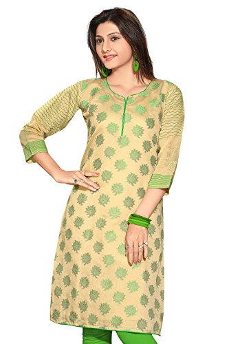 AmzG Trends Indian Kurtis for women and Girls Tunics Designer Kurti – Large, Beige & Red