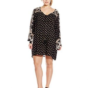 Angie-Juniors-Plus-Size-Black-Printed-Bell-Sleeve-Dress-0