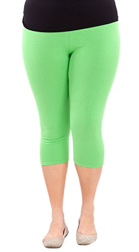 Clothes Effect Woman Plus Size Elastic Waist Cotton Capri Leggings,USA Made, Multiple Colors Available – X-Large, Apple Green