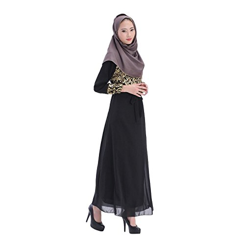 Aro Lora Women's Abaya Kaftan Islamic Muslim Jilbab Long Sleeve Maxi Dress Black
