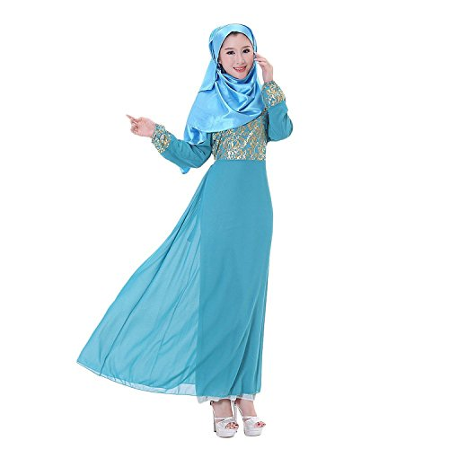 Aro Lora Women's Abaya Kaftan Islamic Muslim Jilbab Long Sleeve Maxi Dress Blue