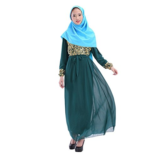 Aro Lora Women's Abaya Kaftan Islamic Muslim Jilbab Long Sleeve Maxi Dress Green