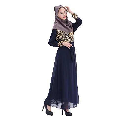 Aro Lora Women's Abaya Kaftan Islamic Muslim Jilbab Long Sleeve Maxi Dress Navy