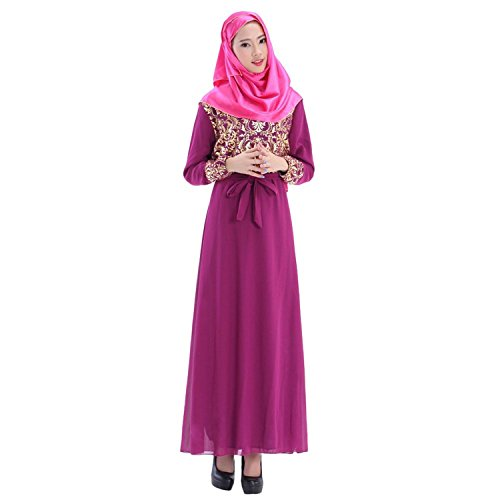 Aro Lora Women's Abaya Kaftan Islamic Muslim Jilbab Long Sleeve Maxi Dress Purple