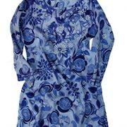 Ayurvastram Pure Cotton, Light weight, Printed, Hand Embroidered Tunic Top Kurti; Blue; Size 0