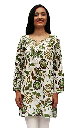 Ayurvastram Pure Cotton, Light weight, Printed, Hand Embroidered Tunic Top Kurti; Green, Olive; Size 10