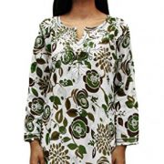 Ayurvastram Pure Cotton, Light weight, Printed, Hand Embroidered Tunic Top Kurti; Green, Olive; Size 14