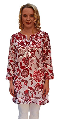 Ayurvastram Pure Cotton, Light weight, Printed, Hand Embroidered Tunic Top Kurti; Red; Size 0