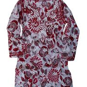 Ayurvastram Pure Cotton, Light weight, Printed, Hand Embroidered Tunic Top Kurti; Red; Size 26W