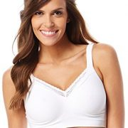 Bali Women's Comfort Revolution Wirefree Bra with Smart Sizes – Large, White Lace
