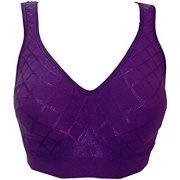 Bali Women's Comfort Revolution Wirefree Bra with Smart Sizes – Small, Simply Purple Diamond