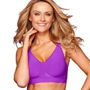 Bali Women's Comfort Revolution Wirefree Bra with Smart Sizes – Medium, Purple Cactus Flower