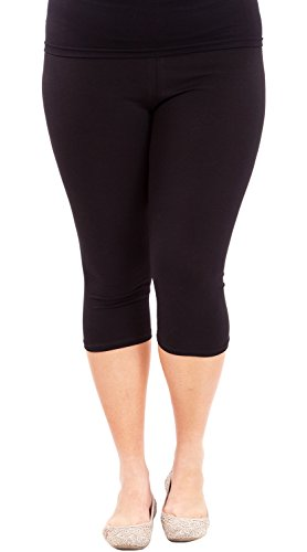 Clothes Effect Woman Plus Size Elastic Waist Cotton Capri Leggings,USA Made, Multiple Colors Available – 2X Plus, Black