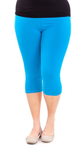 Clothes Effect Woman Plus Size Elastic Waist Cotton Capri Leggings,USA Made, Multiple Colors Available – 2X Plus, Blue
