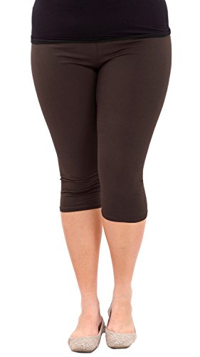 Clothes Effect Woman Plus Size Elastic Waist Cotton Capri Leggings,USA Made, Multiple Colors Available – 3X Plus, Brown