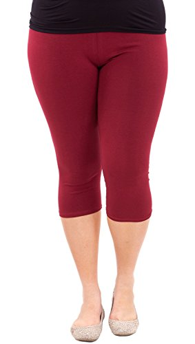 Clothes Effect Woman Plus Size Elastic Waist Cotton Capri Leggings,USA Made, Multiple Colors Available – X-Large, Burgundy