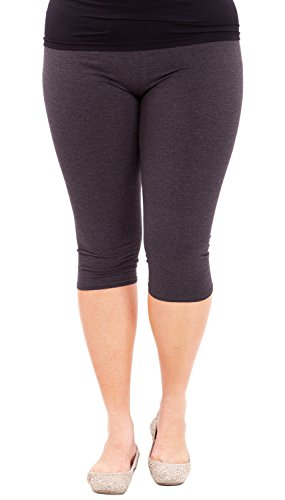 Clothes Effect Woman Plus Size Elastic Waist Cotton Capri Leggings,USA Made, Multiple Colors Available – 3X Plus, Charcoal