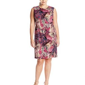 Ellen-Tracy-Womens-Plus-Size-Cap-Sleeve-Animal-Printed-Sheath-Dress-0