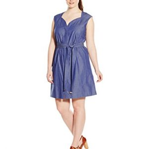 Ellen-Tracy-Womens-Plus-Size-Cap-Sleeve-Dress-with-Self-Belt-and-Sweetheart-Neckline-0