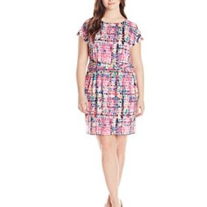 Ellen-Tracy-Womens-Plus-Size-Cap-Sleeve-Printed-Dress-0