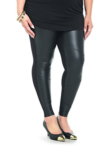 Faux Leather Panel Leggings – 3, Black