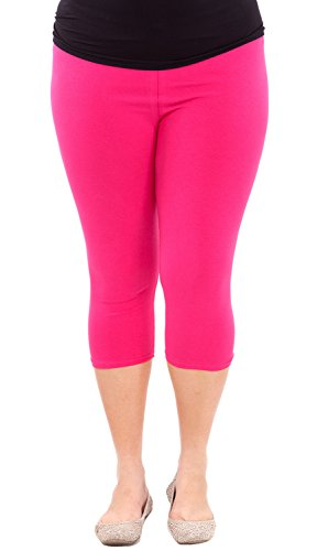 Clothes Effect Woman Plus Size Elastic Waist Cotton Capri Leggings,USA Made, Multiple Colors Available – X-Large, Fuchsia