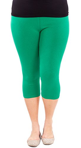 Clothes Effect Woman Plus Size Elastic Waist Cotton Capri Leggings,USA Made, Multiple Colors Available – X-Large, Green