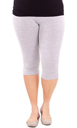 Clothes Effect Woman Plus Size Elastic Waist Cotton Capri Leggings,USA Made, Multiple Colors Available – 2X Plus, Heather Gray