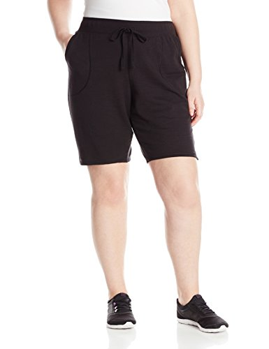 Just My Size Women's Plus-Size French Terry Bermuda Short, Black, 1X