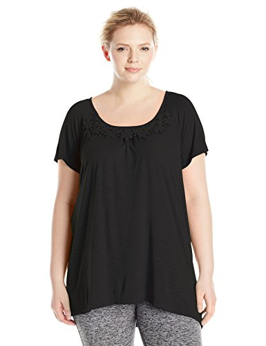 Just My Size Women's Plus-Size Slub Crochet Trim Tunic – 1X, Black
