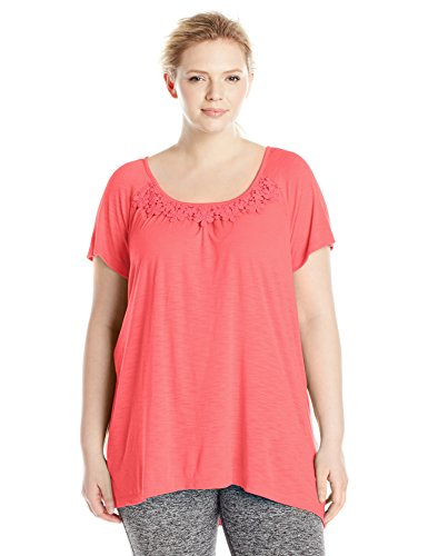 Just My Size Women's Plus-Size Slub Crochet Trim Tunic – 1X, Briny Pink