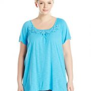 Just My Size Women's Plus-Size Slub Crochet Trim Tunic – 1X, Process Blue