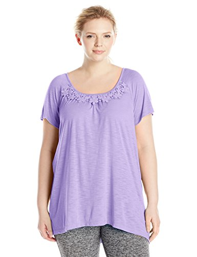 Just My Size Women's Plus-Size Slub Crochet Trim Tunic – 1X, Salty Purple