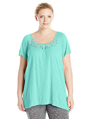 Just My Size Women's Plus-Size Slub Crochet Trim Tunic – 1X, sulfur