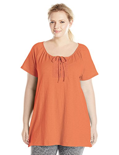 Just My Size Women's Plus-Size Slub Jersey Crochet Trim Tunic with Drawcord, Tangy Melon, 1X