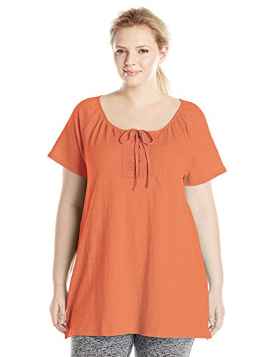 Just My Size Women's Plus-Size Slub Jersey Crochet Trim Tunic with Drawcord, Tangy Melon, 2X