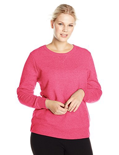 Just My Size Women's Plus-Size V-Notch Sweatshirt, Sizzling Pink Heather,5XL
