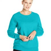 Just My Size Women's Plus-Size V-Notch Sweatshirt, Dark Aquamarine Heather,5XL