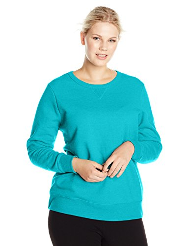 Just My Size Women's Plus-Size V-Notch Sweatshirt, Dark Aquamarine Heather, 16W/1XL