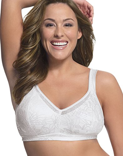 Just My Size Women's Soft Support Wirefree Pocket Bra, White, 38DD